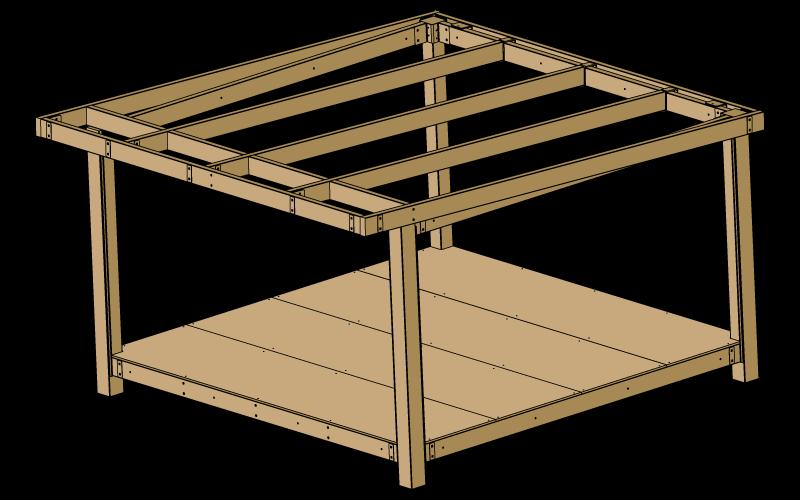Visuels 3d de l'ossature bois d'une tente Mataï