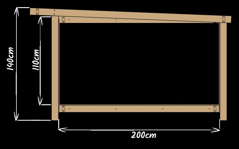 Vue de côté avec dimensions d'une tente Mataï